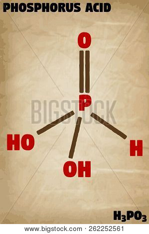 Detailed Infographic Illustration Of The Molecule Of Phosphorus Acid