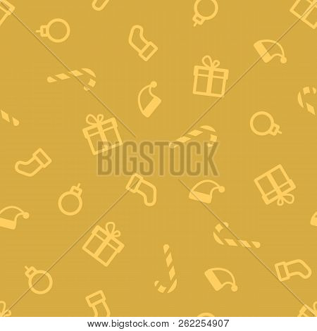 Gold Christmas Pattern. Xmas Seamless Pattern. Luxury Wrapping Paper. Golden Elements For Greeting C