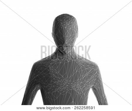 Grey Human Body Isolated On White Background. Artificial Intelligence High-tech In Digital Computer
