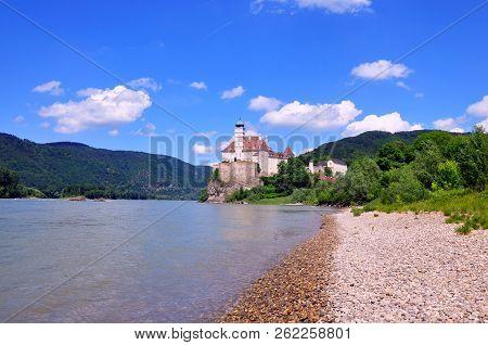 Wachau Valley, Austria - June 4, 2018: SchönbühelSchonbuhel Castle, A Romantic Magic Fairy Castle O