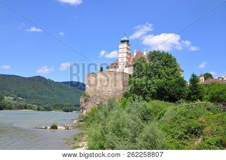 Wachau Valley, Austria - June 4, 2018: Schoenbuehel Castle, A Romantic Magic Fairy Castle On The Riv