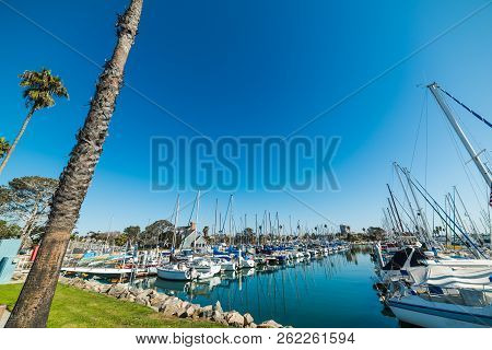 Boats In Oceanside Harbor In Southern California, Usa