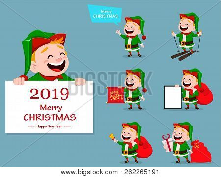 Merry Christmas. Funny Santa Claus Helper, Set Of Seven Poses. Cheerful Cute Elf. Cartoon Character.