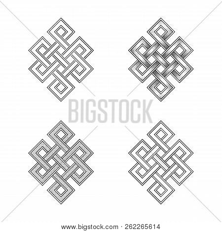 Engraving Of Endless Knot Symbol On White Background