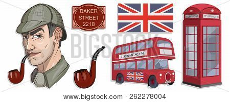 Sherlock Holmes Vector, London, Ilustration With Sherlock Holmes, Baker Street 221b, Sherlock Holmes