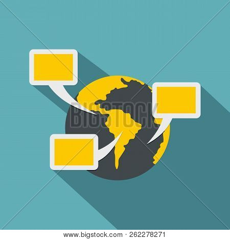 Global Communication Icon. Flat Illustration Of Global Communication Icon For Web