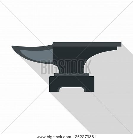 Heavy black metal anvil icon. Flat illustration of heavy black metal anvil icon for web poster