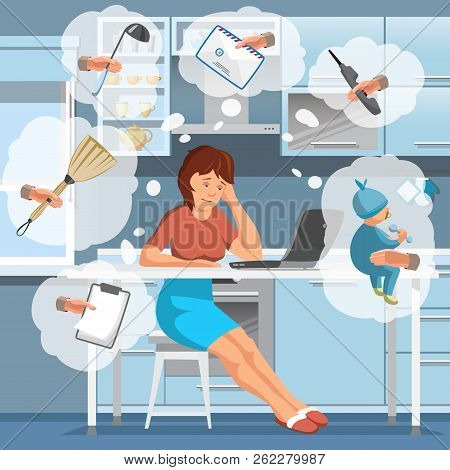 Working Mother Concept. Busy Mom In Kitchen. Mother Working At Home. Super Mom Multitask Woman. Momm