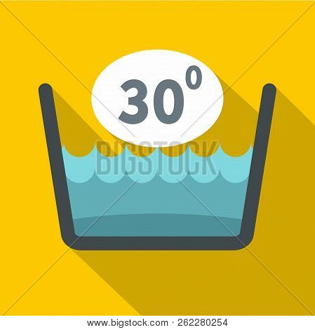 Delicate Gentle Thirty Degrees Washing Laundry Symbol Icon. Flat Illustration Of Delicate Gentle Thi