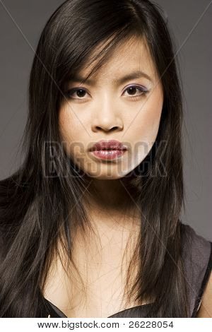 oriental model posing on grey background