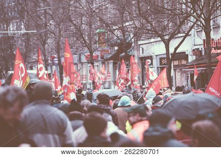 Strasbourg, France - Mar 22, 2018: Rear View Of Crowd Of Protesters At Cgt General Confederation Of