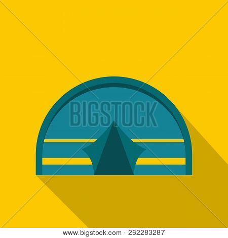 Blue Touristic Camping Tent Icon. Flat Illustration Of Blue Touristic Camping Tent Icon For Web