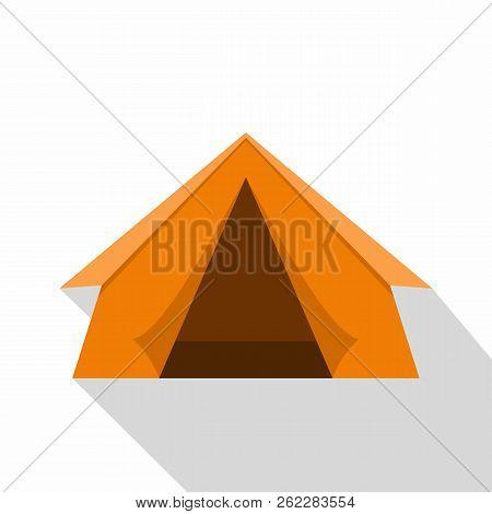 Orange Touristic Camping Tent Icon. Flat Illustration Of Orange Touristic Camping Tent Icon For Web