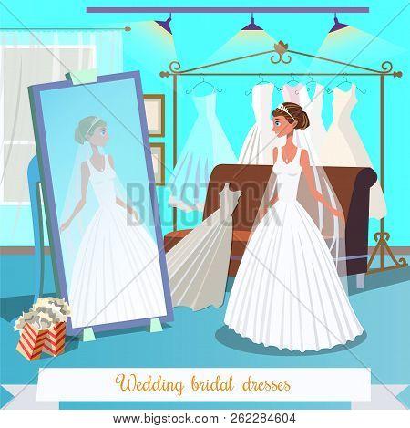 Wedding Bridal Dresses. Beautiful Bride Trying On Wedding Dress Near Mirror. Wedding Ceremony Concep