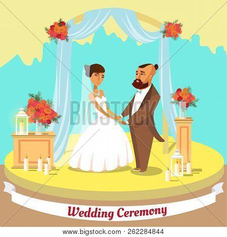 Wedding Ceremony Concept. Wedding Couple At Church. Happy Bridegroom In Wedding Suit And Bride In Dr