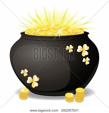 Money in a pot, the glitter of gold coins . A lot of coins in the container. Finance and business. isolated, white, vector