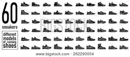 60 Sneaker Running Shoes Icon Set. Casual Simple Style Logo. Vector Illustration Icons Set Of Fitnes