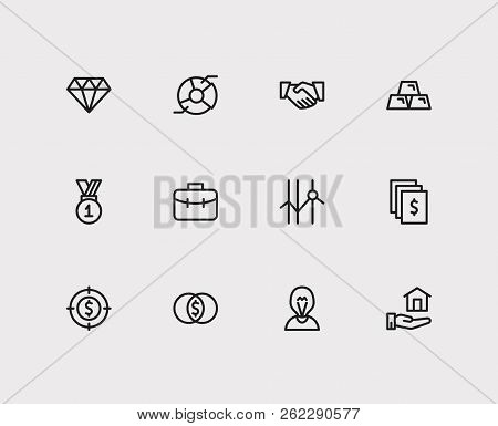 Investment Icons Set. Cooperation And Investment Icons With Stock, Gold And Investment Target. Set O