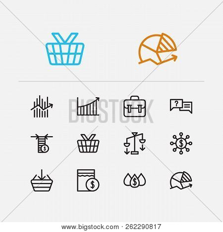Finance Trading Icons Set. Chart And Finance Trading Icons With Forex, Limit Order And Buy. Set Of A