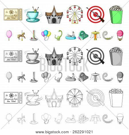 Amusement Park Cartoon Icons In Set Collection For Design. Equipment And Attractions Vector Symbol S