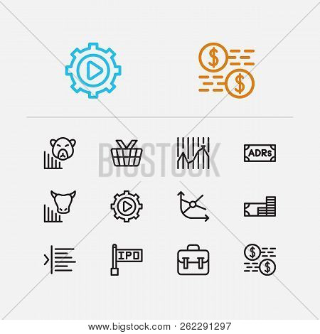 Finance Trading Icons Set. Portfolio And Finance Trading Icons With Bear Market, Trading Volume And