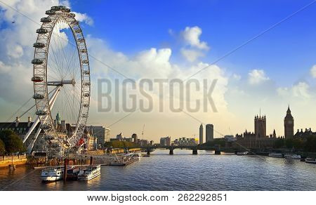 London, Uk - September 19, 2014: London Cityscape With London Eye  In Early Evening. The London Eye
