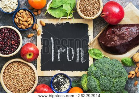 Foods High In Iron. Vegetables, Fruits Rich In Iron On A Rustic Background. Top View, Flat Lay, Copy