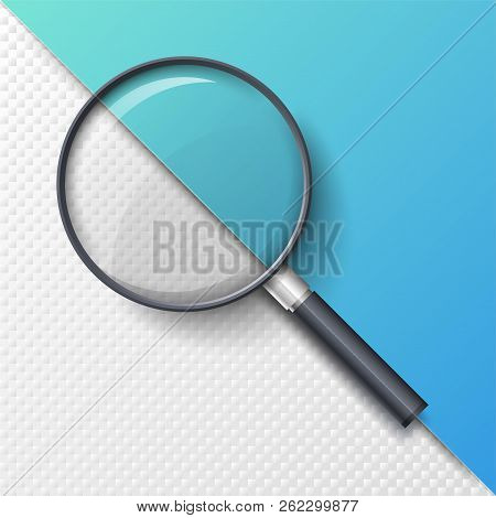 Realistic Magnifying Glass, Magnifier Or Hand Lens For Optical Magnification Isolated On Paper Backg