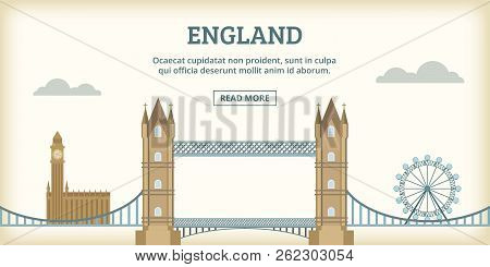 English Landmarks Banner Horizontal Concept. Cartoon Illustration Of English Landmarks Banner Horizo