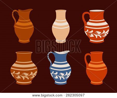 Set of ceramic crockery. Collection jugs in different variation. Rustic pottery utensils, colorful vector illustration for your design. Horizontal location. poster