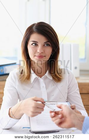 Female Hand In Suit Give Blank Calling Card To Male Visitor Closeup. White Collar Partners Company N