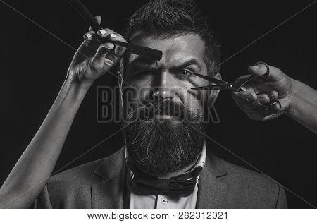 Handsome Bearded Man With Long Beard Moustache. Barber Scissors. Long Beard. Bearded Man, Lush Beard