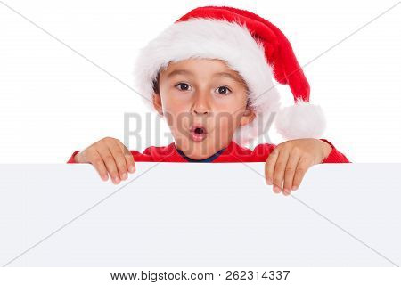 Child Kid Christmas Santa Claus Empty Banner Copyspace Surprised Astonished Copy Space