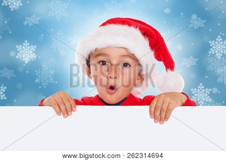 Child Kid Christmas Card Santa Claus Empty Banner Copyspace Surprised Astonished