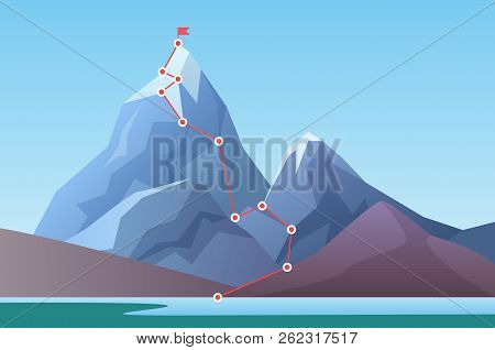 Mountain Climbing Route To Peak. Business Progress Motivation, Discipline And Success Target Concept
