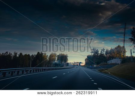 Russian Roads In Karelia. Travel By Road. Asphalt Road. Smooth Road