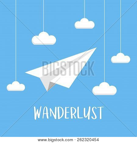 Paper Plane On Sky Travel Concept, Vector Graphic. Paper Plane Origami With Clouds On String And Wri