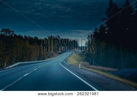 Russian Roads In Karelia. Travel By Road. Asphalt Road. Smooth Road