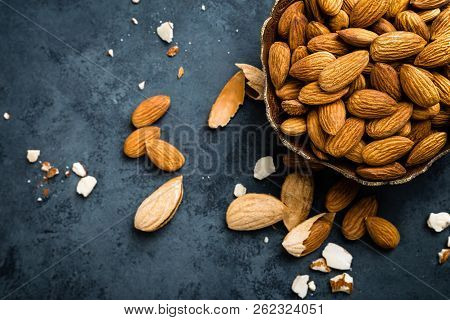 Almond Nuts In Bowl. Almonds Top View
