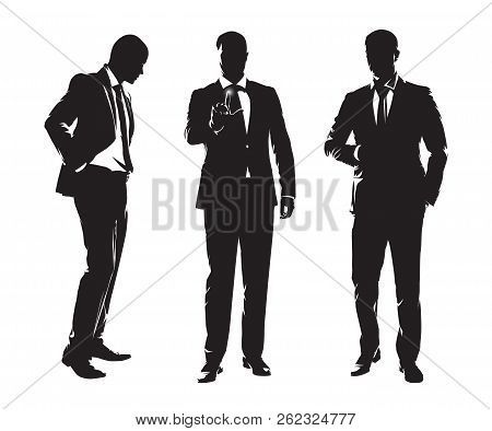 Group Of Businessmen. Three Men In Dark Suits Standing In Different Poses, Set Of Isolated Vector Si