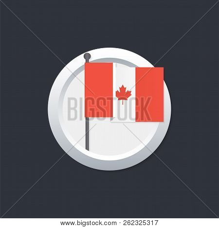 Canada Flag Which Silver Button On Black Background. Vector Stock Illustration.
