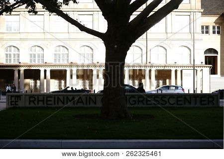Wiesbaden, Germany - September 25: The Lettering And The Sign Of The Rhein Main Congress Center On A