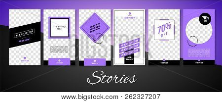 Editable Social Media Stories For Phone Vector Template