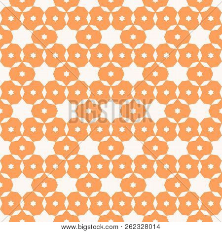 Vector Ornamental Seamless Pattern. Simple Geometric Texture With Small Stars, Flower Shapes, Grid,