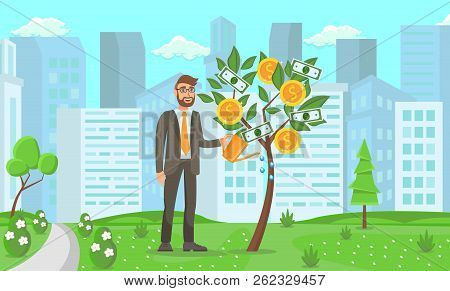 Business Startup Concept. Businessman Near Money Tree On City Background. Start Up Technology And Fi