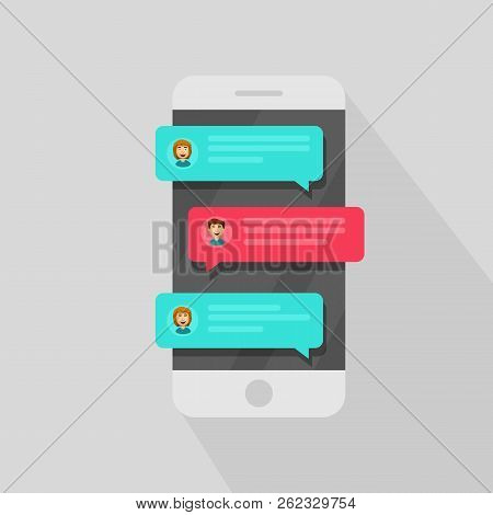 Mobile Phone Chat Message Notifications. Chatting Bubble Speeches, Concept Of Online Talking, Speak,