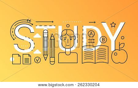 Education Learning 2019 Word Trendy Composition Concept Banner. Outline Stroke E-learning, Online Co