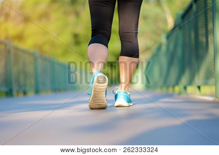 Young Athlete Woman Running In The Park Outdoor, Female Runner Ready For Jogging On The Road Outside