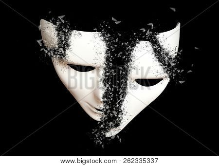Destruction. White theatrical pantomime mask on black background poster