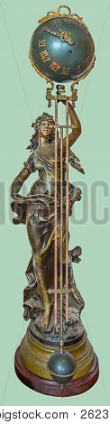 Antique French Gilt Figurative Orb Pendulum Clock. Bronze Sculpture Of A Standing Woman Holding The